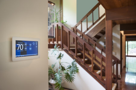 Smart wall energy control thermostat for use with heating or air conditioning